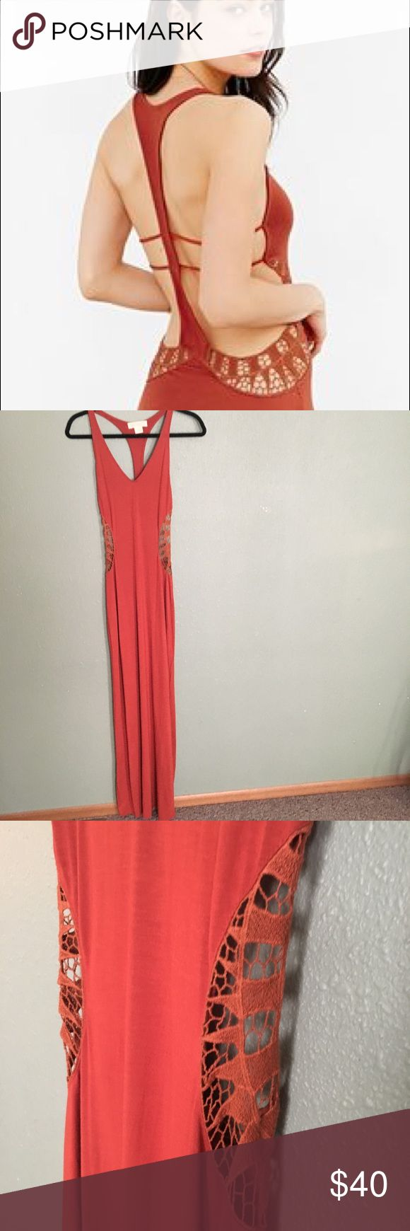 Urban Outfitters Burnt Orange Maxi Dress Sensual burnt orange maxi dress/swim coverup from Urban Outfitters. Features racetrack, cutout detail, and long flattering fit. Color is true burnt orange. Excellent condition, never worn. Rock this gorgeous piece on your next vacation! Staring at Stars Dresses Maxi