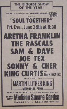 Aretha Franklin King Curtis Madison Square Garden Concert Poster Type Ad  PERFORMERS:  Aretha Franklin  Joe Tex  King Curtis  Rascals  Sam And Dave  VENUE:  Madison Square Garden NY  DATE: 6/28/68  YEAR: 1968  CATEGORY:  Original Newspaper / Magazine Ads