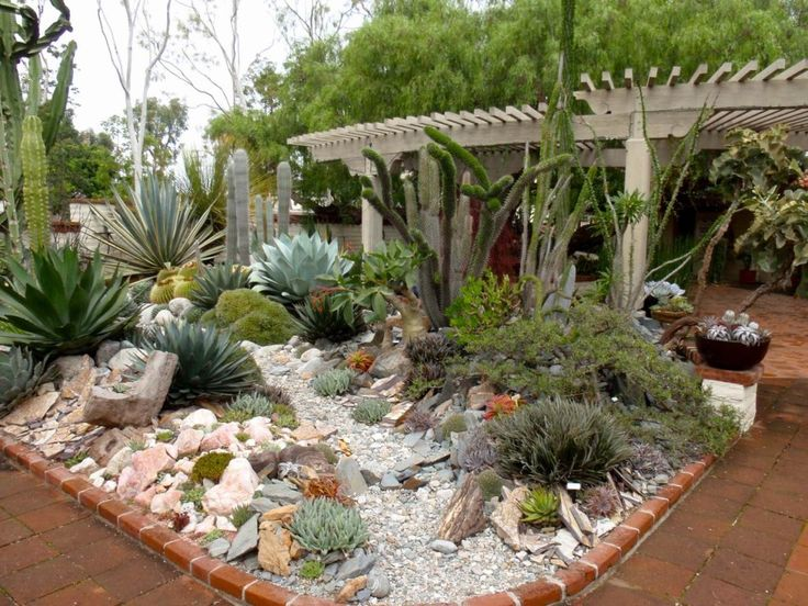 Breathtaking Image Of Garden Landscaping Decoration Using Succulent Garden Decor : Agreeable Picture Of Garden Decoration Using Succulent Garden Decor Including Brown Brick Garden Edging And White Wood Garden Pergola Roof