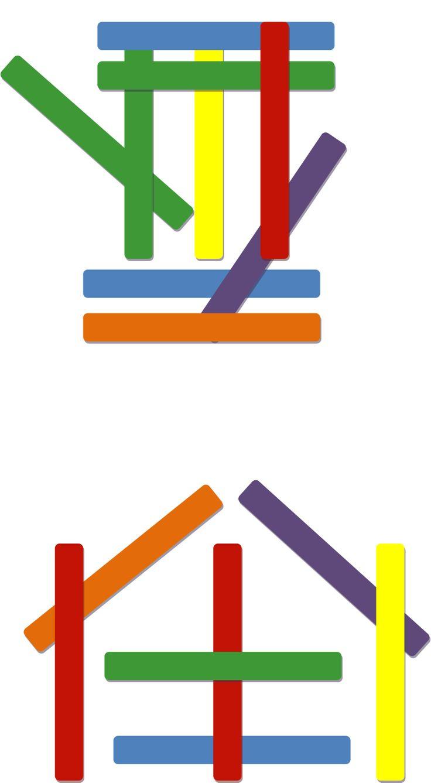 modèle à reproduire bâtonnets colorés