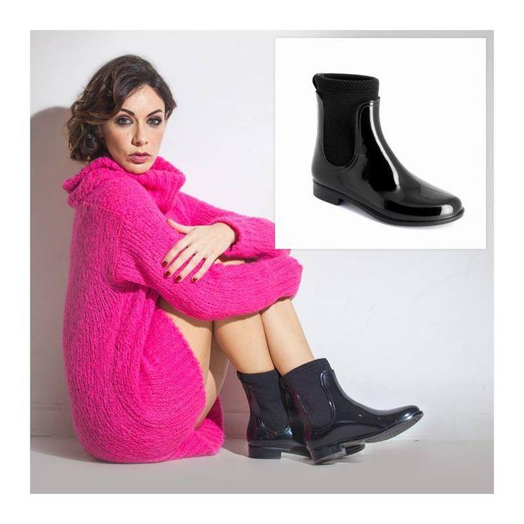 Melita Toniolo wears rain boot lined with polka dot neoprene by Chiara Bellini