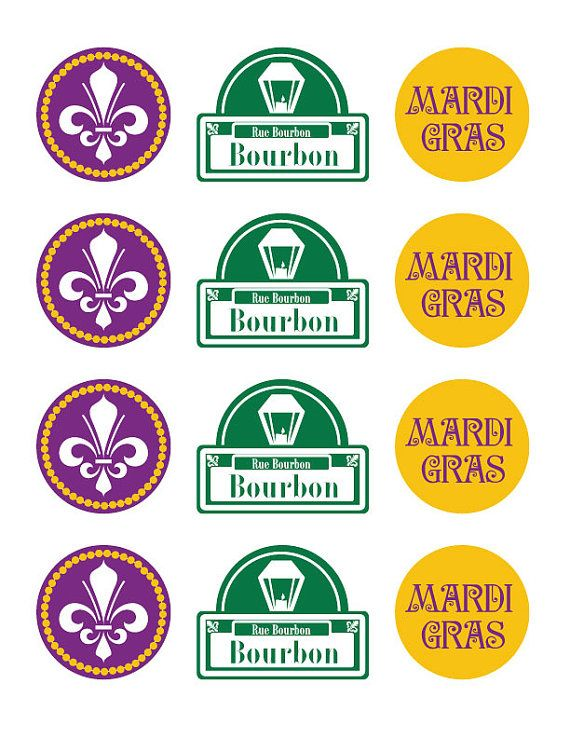 Mardi gras cupcake toppers. Mardi Gras food stick toppers (perfect for holding po-boy or muffaletta sandwiches together!)