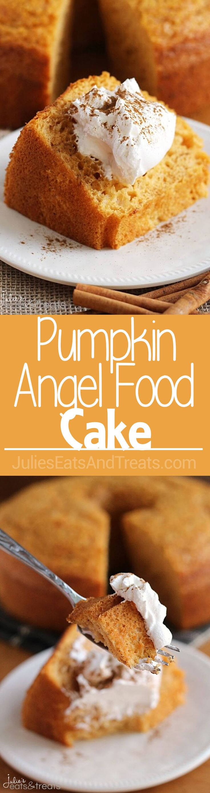 Pumpkin Angel Food Cake ~ Light, Airy Angel Food Cake with a Hint of Pumpkin! ~ http://www.julieseatsandtreats.com