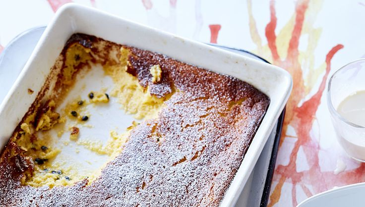 With its tangy, tropical flavour, passionfruit is great in baking and desserts, and seems a natural fit in this version of the ever-popular lemon delicious. -wyza.com.au