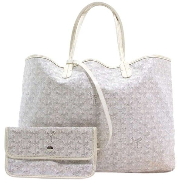 Pre-owned Goyard St Louis Pm White Tote Bag (34,840 HNL) ❤ liked on Polyvore featuring bags, handbags, tote bags, white, tote bag purse, white purse, goyard purse, white tote and goyard handbags