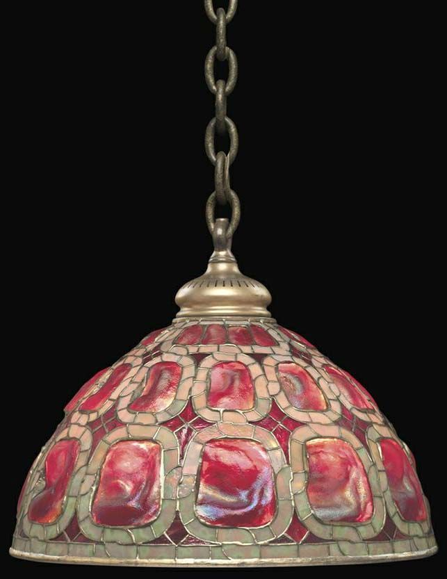 Suspension 'Dôme' glass and patinated bronze hanging lamp in Carapace de Tortue mode by Tiffany, USA