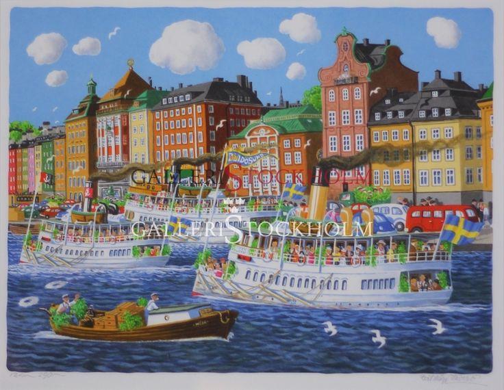 Bert Håge Häverö - Gamla Stan Litografi i begränsad upplaga om 295 ex, signerade av konstnären. Färdiginramad i äkta träram guld. Mått: Höjd 58 cm X Bredd 65 cm. Beställ här! Klicka på bilden.