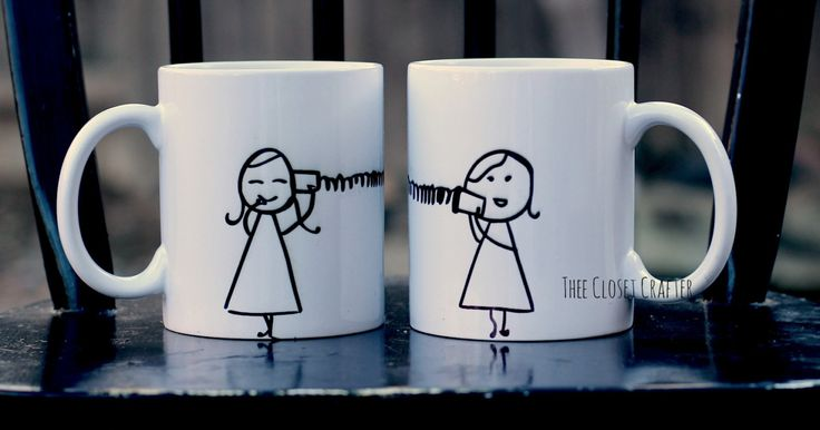 Best Friend Mugs - Going Away Gift, Long Distance Relationship, Going Away Present, Miss you gift by TheeClosetCrafter on Etsy https://www.etsy.com/listing/223699523/best-friend-mugs-going-away-gift-long