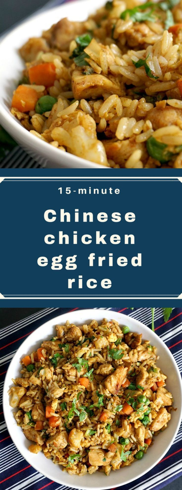 Healthy Chinese chicken egg fried rice recipe, the easiest, quickest and tastiest way to use leftover rice. So flavourful and tasty, this dish makes a perfect 15-minute dinner