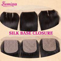Cheap 7A Virgin Brazilian Silk Base Closure Straight Free Middle 3 Part Closure Slik Base Closure 4*4 Aliluxy Silk Lace Closure