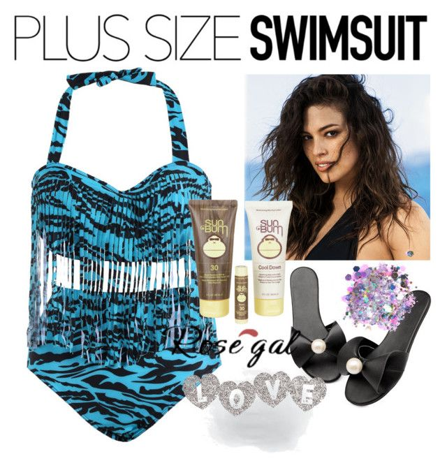 """Plus size o the beach"" by muminka27 ❤ liked on Polyvore featuring Ashley Graham, Sun Bum and The Gypsy Shrine"