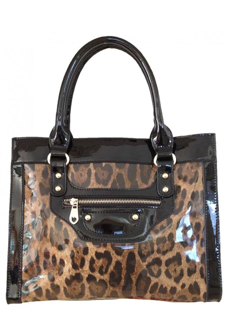 Sylvie Rousselle -- Women's Stylish Black Patent Leather Handbag with Leopard Pattern