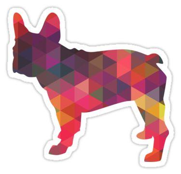 French Bulldog Colorful Geometric Pattern Silhouette - Multi by TriPodDogDesign