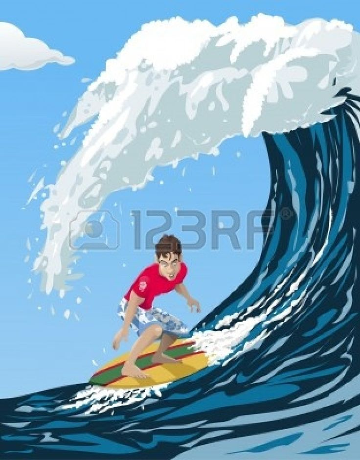Computer-made illustration of a cool surfer riding a big ocean wave - Cartoon style