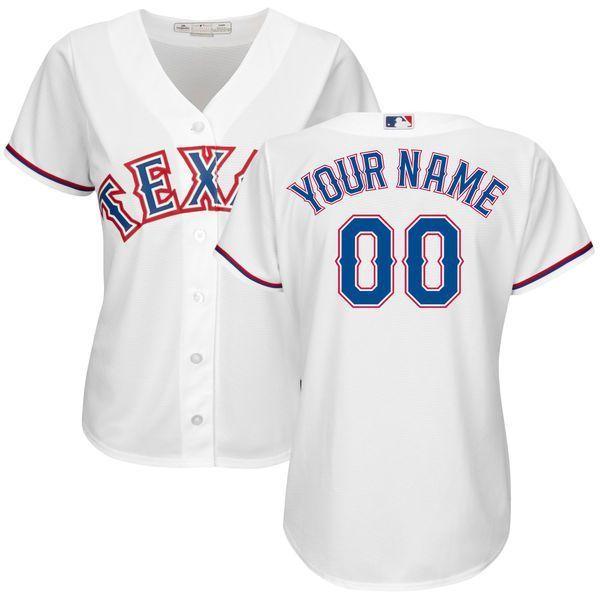 Women Texas Rangers Majestic White Home Cool Base Custom Mlb Jersey Texas Rangers Custom Jerseys Custom Baseball Jersey