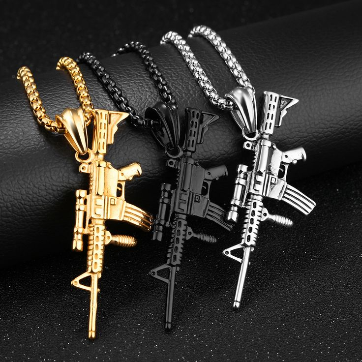 316L Stainless Steel Men Silver Gold Black Gun Pendant Titanium Steel Charm Necklace