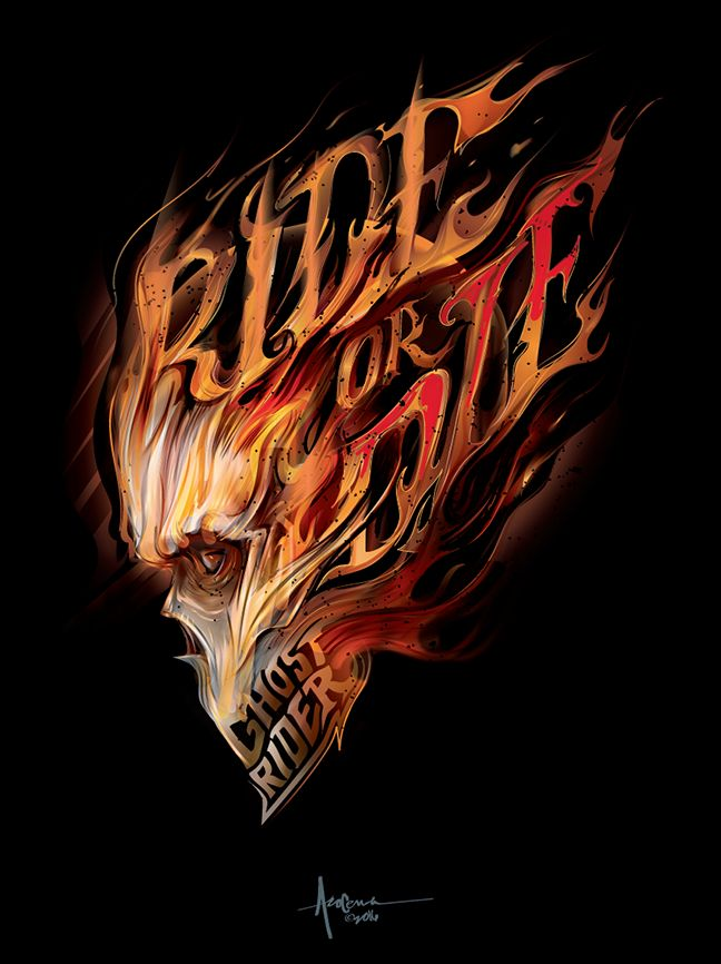 GhostRider- RIDEorDIE- vector art- by Orlando Arocena ~Mexifunk on Behance- 18x24 prints available at mexifunk,com
