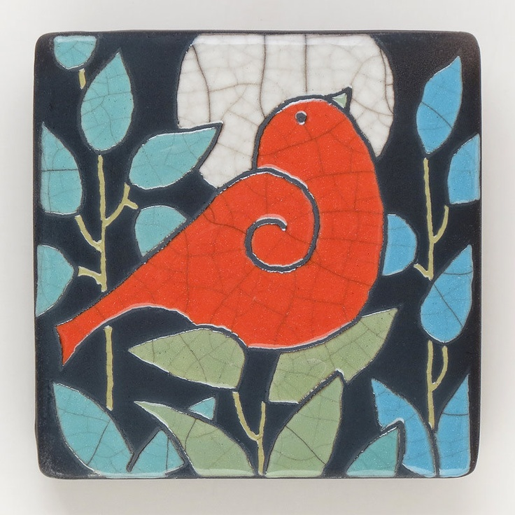 Red Bird Ceramic Tile