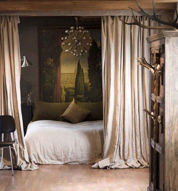 """Things I love in this: Canopy over bed, chest as coffee table, """"movie pit"""" out of bed and dresser, repurposed couch pillows instead of couch,"""