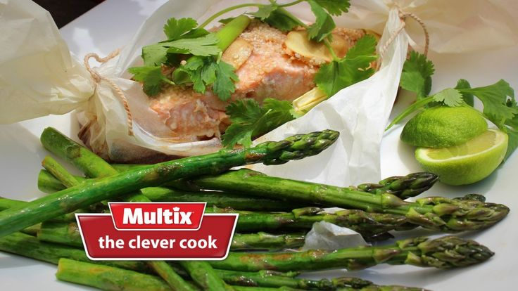 salmon in paper parcels with ginger sesame and coriander