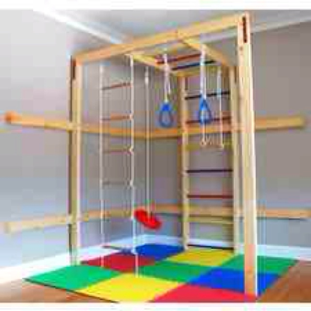DIY play gym for the kiddos...possibly could get a swing in the playroom???
