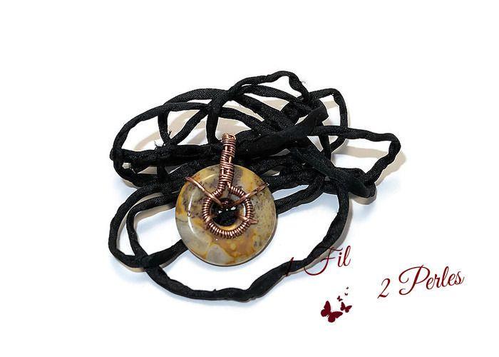 Pendentif Donut Agate Vert Jaune en Wire Wrapping Cuivre Naturel : Pendentif par 1-fil-2-perles