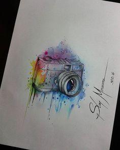 Boa tarde! #slimmoxmoore #tattoo #criação #sketching #desenho #aquarela #aquarelatattoo #watercolor #watercolortattoo #camera #cameratattoo #foto #fotografia #photo #photograpy #photographer #fabercastell #sharpie #art #artist #artistic #boatardee #recife #olinda #pernambuco