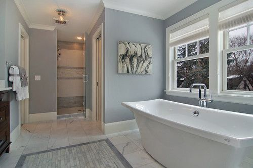 """Benjamin Moore Color...""""london fog."""" A rich, bluish gray. An excellent choice for this bath with all of the white trip and tub."""