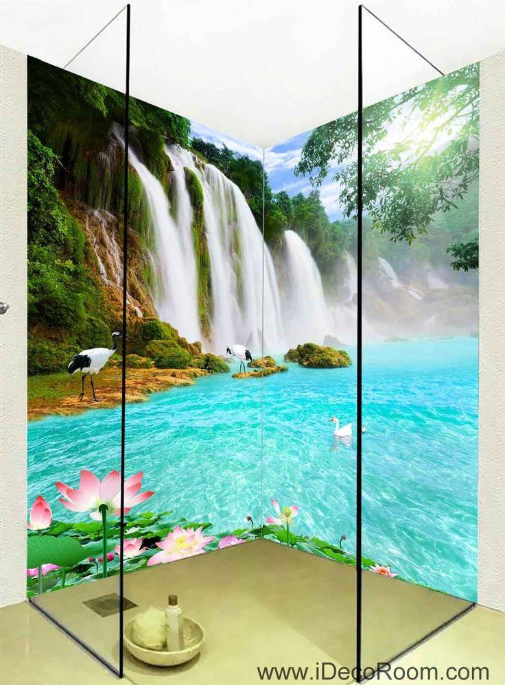 3D Wallpaper Waterfall Lilypad Lotus Wall Murals Bathroom Decals Wall Art Print Home Office Decor