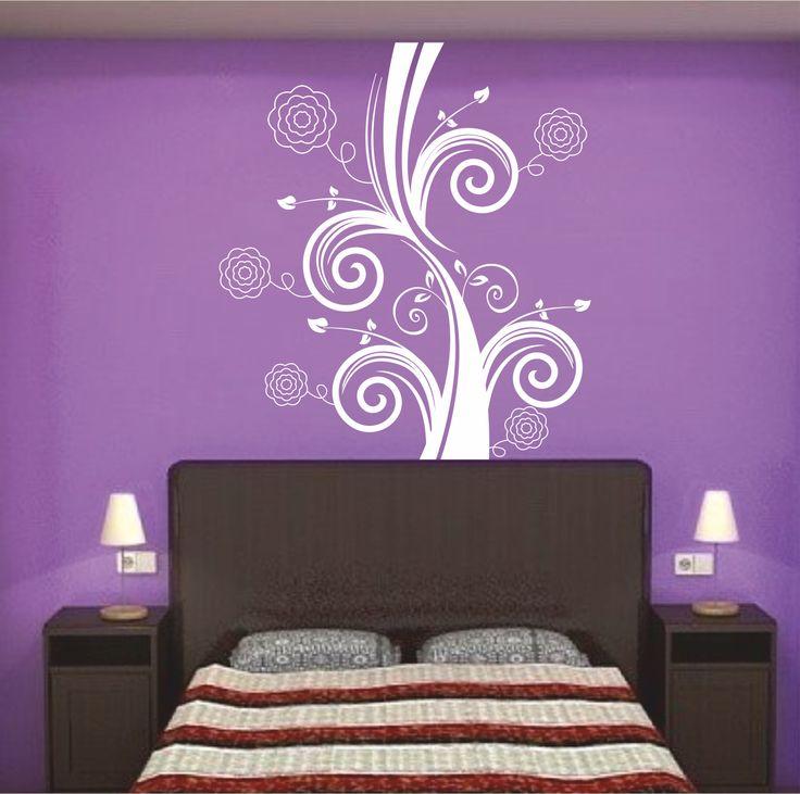 Vinilo decorativo de cabecero de cama ornamento floral con rosas.