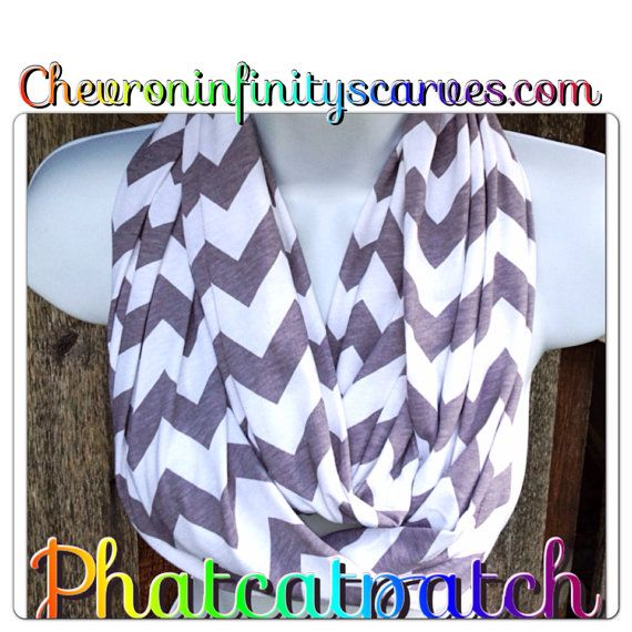 Gray and White Chevron Infinity Scarf, Cotton/Rayon Blend, Zig Zag Scarves with Gift Wrap and Birthday Card