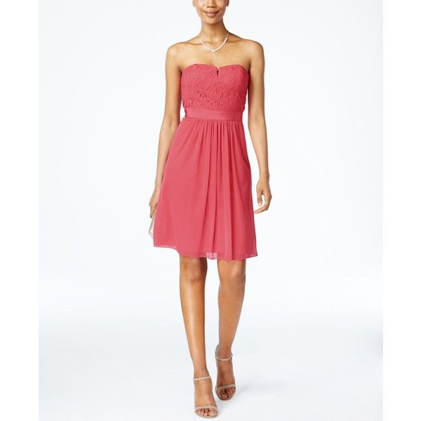 Adrianna Papell Strapless Lace Dress ($159) ❤ liked on Polyvore featuring dresses, macy's, french coral, white dresses, lace dress, strapless lace dress, short dresses and short cocktail dresses