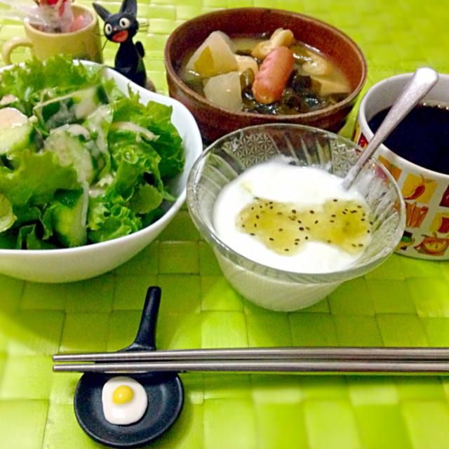 今朝の自宅モーニング☕  なんだか寒気が止まらないから味噌汁追加で中から暖まる(((;°▽°)) - 59件のもぐもぐ - サラダ&ヨーグルト☕ by manilalaki
