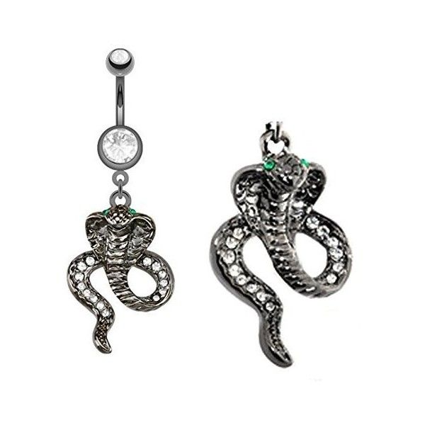 Black Titanium Snake green eyes dangle Belly button navel Ring... ($9) ❤ liked on Polyvore featuring jewelry, belly button rings jewelry, snake jewelry, body jewellery, body jewelry and dangling jewelry