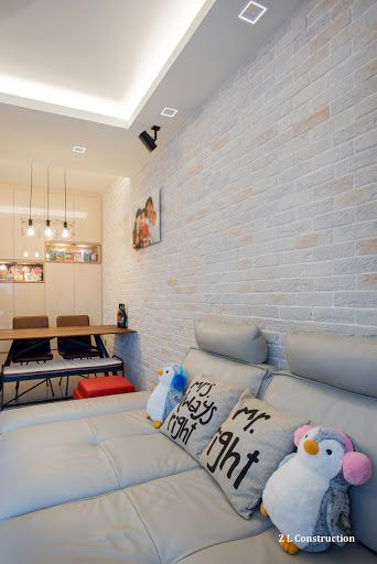 Z L Construction (Singapore) \\ Craftstone feature brick wall with cove lights