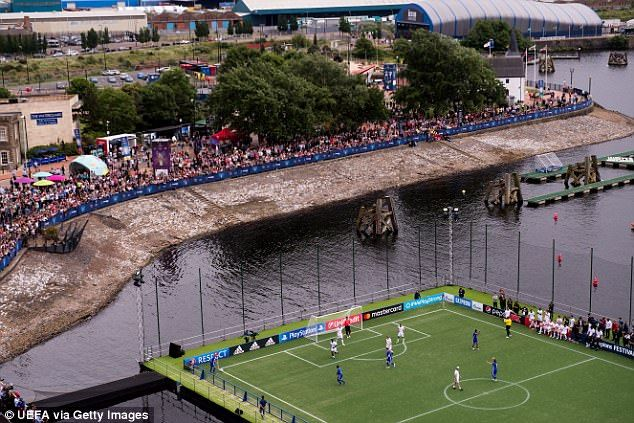The Champions League legends played on a floating pitch in front of fans in Cardiff Bay