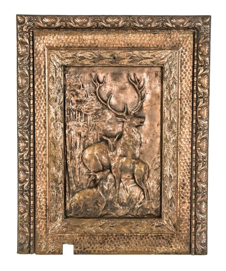 hard to find original copper-plated salvaged chicago ornamental cast iron interior residential 19th century figural fireplace insert and matching surround - Architectural - Products