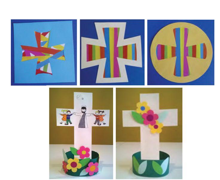 Modèles de croix à réaliser avec les enfants. Disponibles dans le journal gratuit pour l'éveil à la foi édité par le diocèse de Lyon. A télécharger ici: http://initiationchretienne-lyon.cef.fr/IMG/pdf/CPV_5_avec_liens_final.pdf