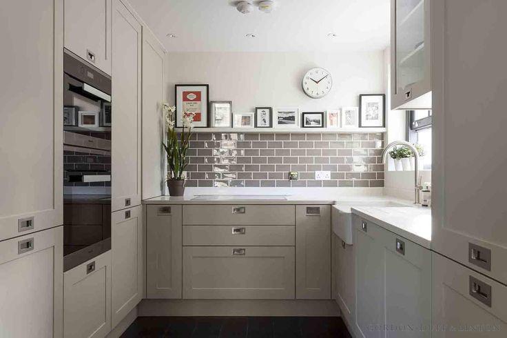 Bespoke shaker-style kitchen with grey ceramic metro tiles. #GD&Lbespoke