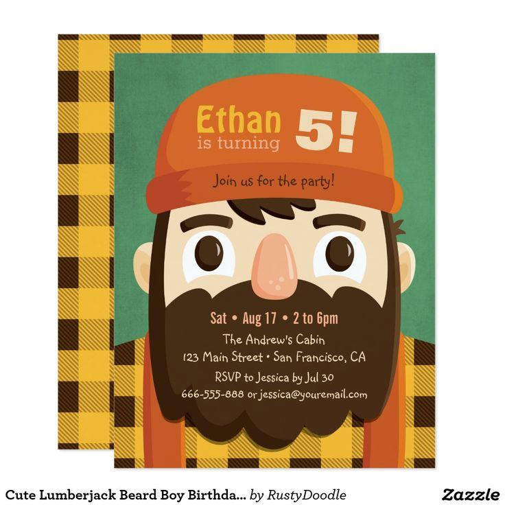 Cute Lumberjack Beard Boy Birthday Party Invites