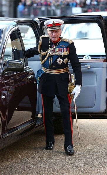 Prince Philip, Duke of Edinburgh attends The Royal Marines 350th Anniversary Beating Retreat at The Royal Horseguards on June 4, 2014 in London, England.