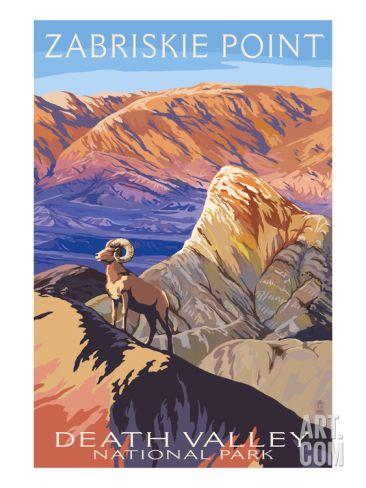 Zabriskie Point - Death Valley National Park Art Print by Lantern Press at Art.com