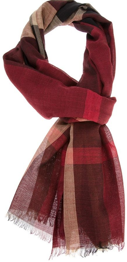 $349, Burgundy Plaid Scarf: Burberry London Checked Scarf. Sold by farfetch.com. Click for more info: https://lookastic.com/men/shop_items/36994/redirect