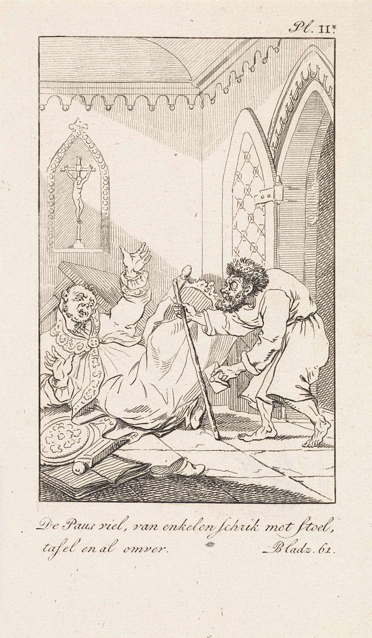 Daniël Veelwaard (I)   Vallende geestelijke en een man met een brief, Daniël Veelwaard (I), Jacob Smies, François Bohn, 1802 - 1809   Een geestelijke valt met stoel en al om, zijn handen in de lucht. Een man met gebogen rug en een staf en een brief in de hand komt op blote voeten aanlopen. Rechtsboven: Pl. II*. Rechtsonder: Bladz. 61.