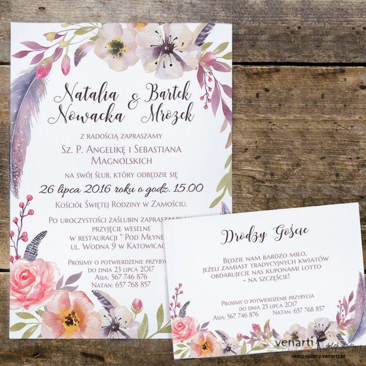 Zaproszenia ślubne Boho kwiaty (Kod: KP053) Zaproszenia papierowe Zaproszenia ślubne -Venarti - Sklep ślubny