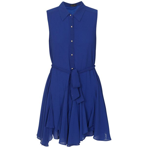 Cascade Hem Sleeveless Shirt Dress in Royal Blue ($20) ❤ liked on Polyvore featuring dresses, blue dress, shirt dresses, royal blue color dress, royal blue sleeveless dress, shirt dress, royal blue shirt dress and royal blue dress