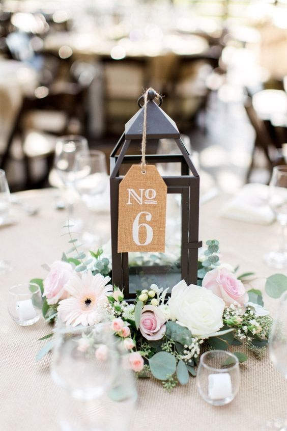pink and white rustic chic centerpiece and table number / http://www.himisspuff.com/wedding-table-numbers-centerpieces/6/