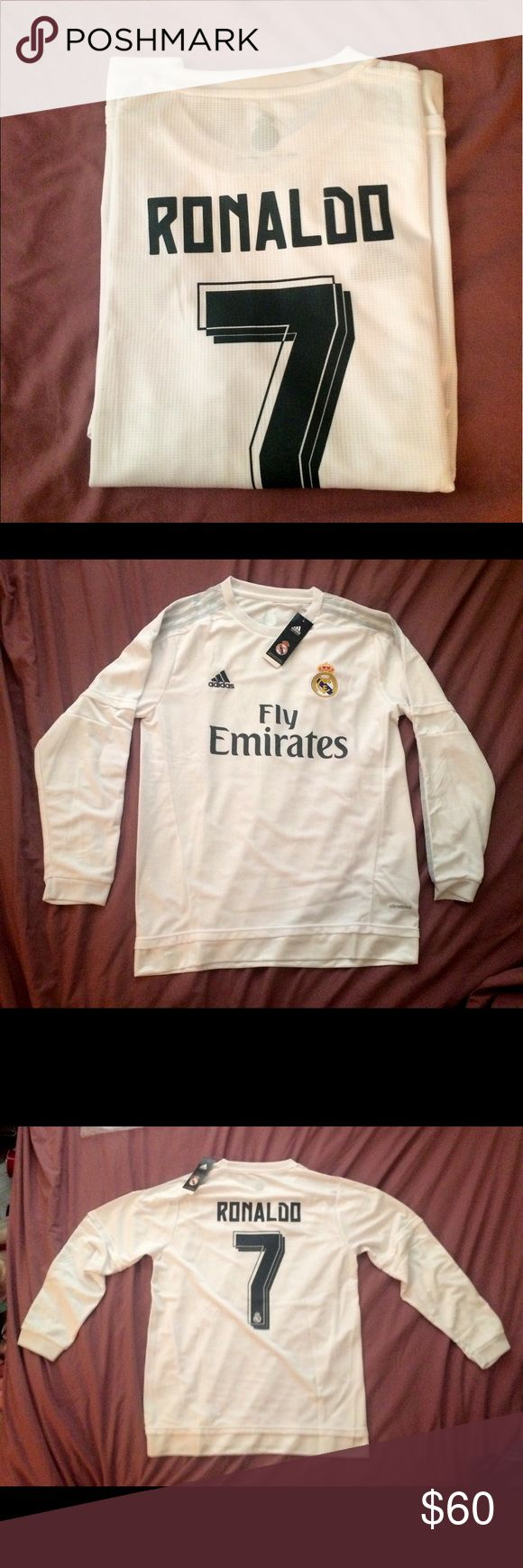 NWT Real Madrid Ronaldo Soccer Jersey Adult Large Brand New 2015-2016 Real Madrid Cristiano Ronaldo Long Sleeve Soccer Jersey. Men's Adult Large. NWT adidas Shirts
