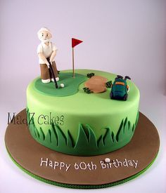 Like old man and clean layout of golf cake.