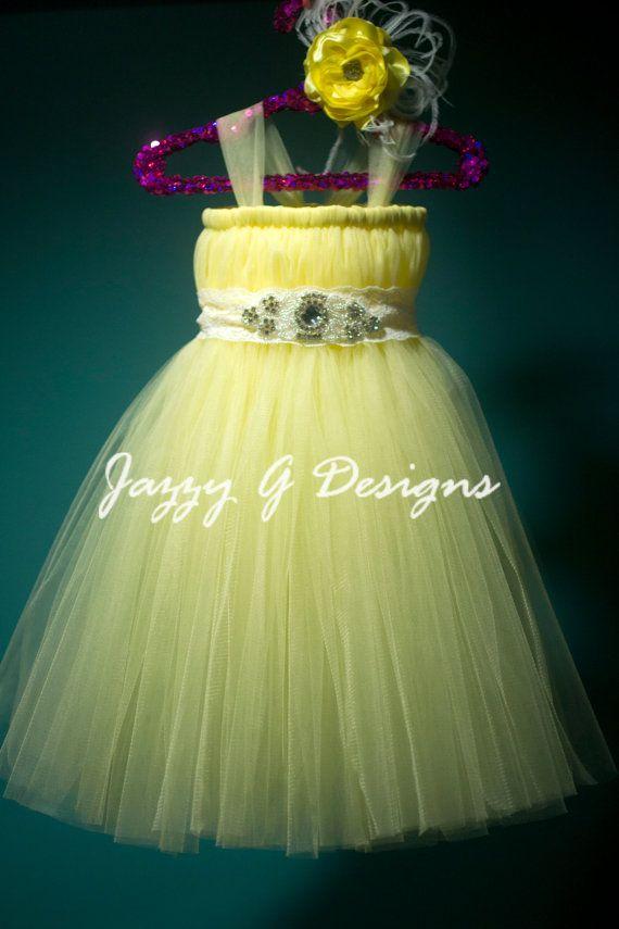 Canary Yellow Tutu Dress  Yellow Flower Girl Tutu Dress
